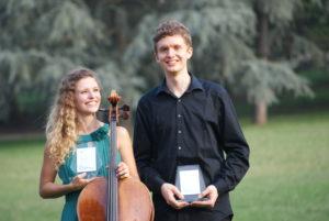 Cellistin Marilies Guschlbauer als Duo mit Nikolaus Guschlbauer: Gewinner des Hauptpreises der On Stage Chamber music competition 2018.